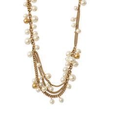 Stella & Dot Gabrielle Pearl Necklace ($59) ❤ liked on Polyvore featuring jewelry, necklaces, pearl jewellery, chain jewelry, stella & dot, cluster necklace and white pearl necklace