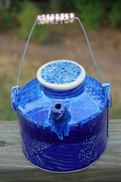 Textured Picnic Jug with Ceramic and Wire Handle by JacksStudio on Etsy, $45.00 #pottery #clay #handmade