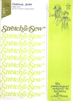 Stretch & Sew Pattern 870 ~ Children's Jacket ~ Sizes 2-7