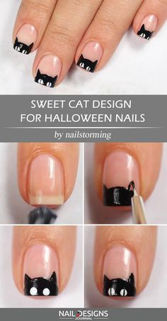 Sweet Cat Design For Halloween Nails ? Creative but Easy Halloween Nails to DIY ? : Sweet Cat Design For Halloween Nails ? Creative but Easy Halloween Nails to DIY ? Nail Art Halloween, Halloween Nail Designs, Cat Nail Designs, Simple Nail Designs, Snowflake Nail Design, Snowflake Nails, Nails For Kids, Cat Nails, Coffen Nails