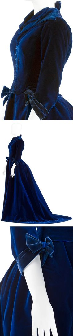 Three-piece dress (two bodices & skirt), probably Swedish-made from French velvet. Hallwylska Museet via emuseumplus