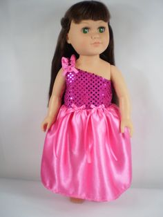 18 Girl Doll Clothes Pink Satin Sequin Doll by GiftsalacarteCrafts