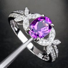 Oval Dark Amethyst Engagement Ring Pave Diamond Wedding 14k White Gold 6x8mm - Bowknot - Lord of Gem Rings - 1