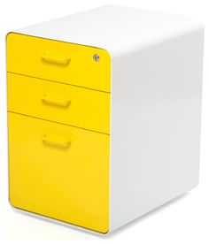 West 18th File Cabinet, White/Yellow modern filing cabinets and carts
