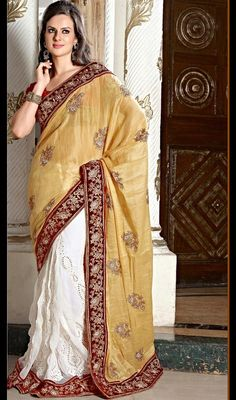 Beige and Off White Embroidered Half N Half Saree Look dazzling draped in this beige and off white shade half and half saree. First half in faux georgette and second half in raw silk is beautifully accentuated with resham embroidered decorative patterns. Contrast fancy border adds to the look. Comes with a matching stitched round neck blouse with 6 inches sleeves. #FancySareeIndian #PartyWearSarees