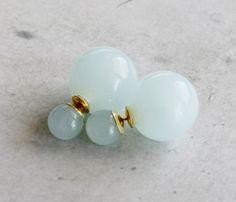 Clear Light Green Tone Double Sided earrings by JHJEWEL on Etsy