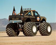 A monster truck is a vehicle that is typically styled after pickup trucks'… New Trucks, Lifted Trucks, Cool Trucks, Chevy Trucks, Pickup Trucks, Monster Truck Madness, Big Monster Trucks, Monster Truck Party, Monster Jam