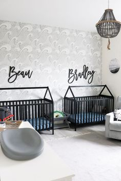 Boys wallpaper can be hard to find but such a fun and gorgeous way to finish off any boys room - check out this post for several examples of wallpaper being used perfectly in a boys room.