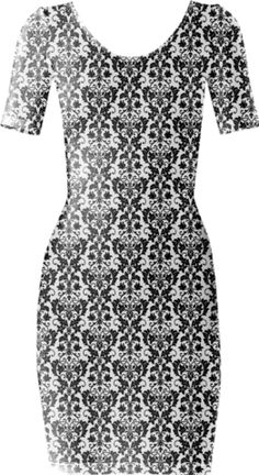 Wallpaper Heart Black Short Sleeved Bodycon Dress - Available Here: http://printallover.me/products/0000000p-wallpaper-heart-black-1