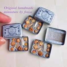 2016, By FRAISE ♡♡ Miniature Crafts, Miniature Food, Miniature Dolls, Tiny Food, Fake Food, Polymer Clay Miniatures, Dollhouse Miniatures, Barbie Food, Mini Things