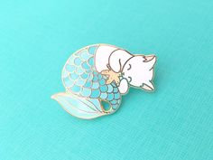 Blue purrmaid enamel pin (mermaid cat hard enamel pin lapel pin badge jewelry cute mermaid jewelry white cat pin cloisonne backpack pins) by OhPlesiosaur on Etsy https://www.etsy.com/listing/494129206/blue-purrmaid-enamel-pin-mermaid-cat