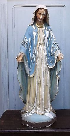 Beautiful Vintage Hand Painted Chalkware Virgin Mary