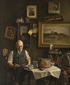A Lover of Dickens by Charles Spencelayh 1947 (@GalleryOldham).