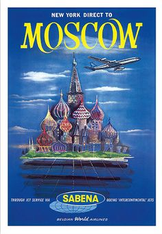 Moscow Vintage Airline Travel Poster Poster Paper by WallArty