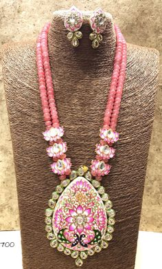 Lotus pandet necklace set with earings Royal Jewelry, India Jewelry, Bead Jewellery, Gemstone Jewelry, Beaded Jewelry, Jewelery, Indian Wedding Jewelry, Imitation Jewelry, Jewelry Patterns