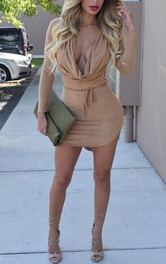 hot deep v sexy long sleeve dress