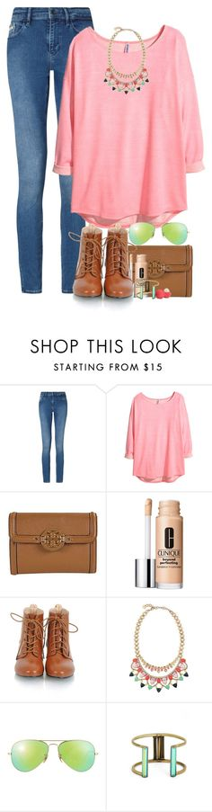"""""""Learn the rules like a pro so you can break them like an artist"""" by red-velvet-n-pearls ❤ liked on Polyvore featuring Calvin Klein, H&M, Tory Burch, Clinique, Stella & Dot, Ray-Ban, Kendra Scott and Eos"""