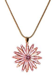 Pink CZ Floral Pendant Necklace