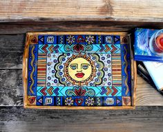 Unique Hand Painted 15.75 in x 11.25 in Wooden Serving Tray in Whimsical, Folk Art Style- FREE Shipping!