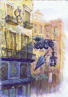 Urban Sketchers Spain. El mundo dibujo a dibujo: Un dragón en la Rambla (Barcelona) Urban Sketching, Sketches, Sketch Book, Travel Art, Arts Barcelona, Illustration, Drawings, Drawing Illustrations, Painting