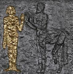 Olbram Zoubek (Czech, born 1926)   Centaur and Lapith, 1970  Tin relief 35 x 35 cm