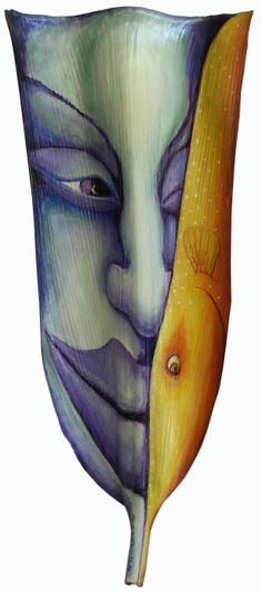 Sweet Dive  acrylic on palm frond by Anna Skaradzinska