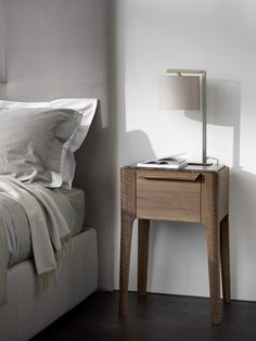 20 Contemporary Nightstand Inspirations For Modern Master Bedroom Modern Master Bedroom, Modern Bedroom Furniture, Table Furniture, Contemporary Furniture, Home Furniture, Furniture Design, Contemporary Nightstands, Night Table, Bedroom Night Stands
