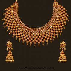 22 Karat Gold choker necklace set with earrings ~ South India Jewels