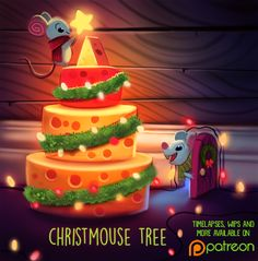 Daily Painting Christmouse Tree by Piper Thibodeau Cute Fruit, Cute Food, Cute Animal Drawings, Cute Drawings, Kawaii Drawings, Cartoon Art, Cute Cartoon, Illustration Noel, Animal Puns