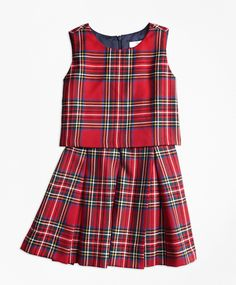 b56666934 Creafted in pure wool in a holiday tartan pattern this dress gives the  illusion of two pieces. Open back with a hidden zipper at center. Brooks  Brothers