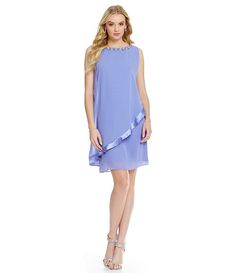Wisteria:S.L. Fashions Beaded-Neck Overlay Sheath Dress