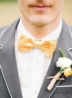 Yellow Bowtie with Grey Suit