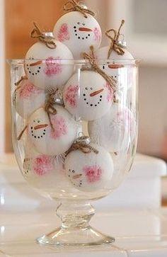 Décorer boule de noel en bonhomme de neige