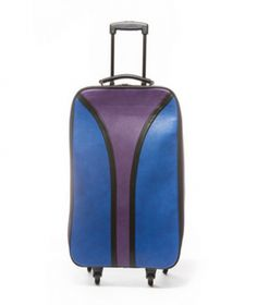 "Blue/Purple Retro Weekend Travel Trolley Bag. Retro lover? This rolling trolley bag is just for you! Take it as a carry-on or keep it close-by for your next weekend getaway. The unique color blocks and stripped interior make this bag a new groovy addition to your luggage collection. It comes with an interior laptop sleeve to protect your computer during travel. Have fun with your bags and try out this retro rolling bag 14"" x 23"" x 10"" 360 Wheels Retractable Handle Laptop Sleeve Faux Leather"