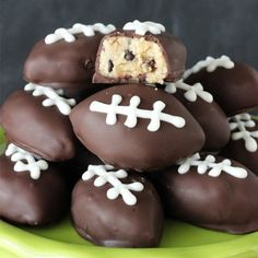 Chocolate Chip Cookie Dough Footballs - a no bake cookie dough treat for Super Bowl parties!
