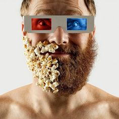Man Shaves Half His Beard Off, Fills in the Empty Space with Other Objects