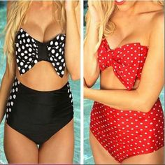 Soak up the sun in this vintage inspired high waist bikini set which displays your sexiness. With this bow and polka dot print style goes perfectly with the vintage design which will never go out of s