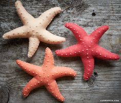 Make felt starfish for a great kids craft, wonderful beach house decor, incorporate them into a nautical centerpiece for a summer dinner party!