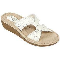 Comfortable Slide Sandals | Strictly Comfort(TM) Sophie Leather Slide Sandals - Polyvore