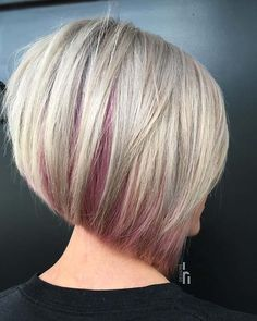 23 Stacked Bob Haircuts That Will Never Go Out of Style,Blonde Bob with a Hint of Pink,Thinking about trying short hair but do not know which style to choose? Then consider a stacked bob. A stacked bob is a super stylish look where the h. Bob Haircuts For Women, Short Bob Haircuts, Layered Haircuts, Stacked Bob Hairstyles, Hairstyles Haircuts, Celebrity Hairstyles, Natural Hairstyles, Wedding Hairstyles, Medium Hairstyles