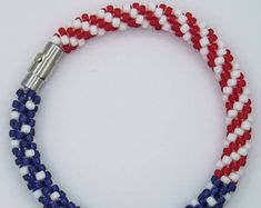 Patriotic, USA, America, Red, White, Blue, Kumihimo, Seed Bead, Bracelet with Silver Color Magnetic Safety Clasp