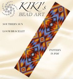 Bead loom pattern - Southern sun ethnic inspired LOOM bracelet pattern - two… Loom Bracelet Patterns, Seed Bead Patterns, Bead Loom Bracelets, Beading Patterns, Peyote Patterns, Native American Beading, Loom Beading, Bead Weaving, Etsy