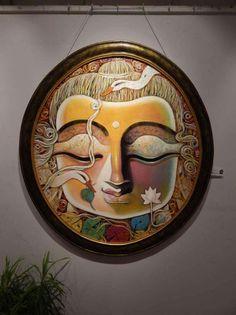 Indian Art Paintings, Original Paintings, Original Art, Diy Canvas Art, Canvas Artwork, Buddha Painting, Buddha Artwork, Indian Folk Art, Wildlife Paintings