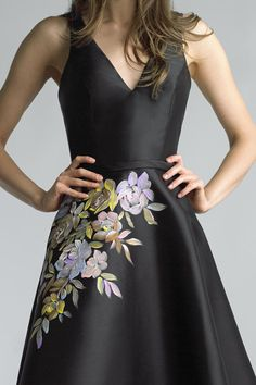 V neck floral painted dressBasix Black Label is a manufacturer of womens apparel for special occassion, cocktail and evening Fabric Painting On Clothes, Fabric Paint Shirt, Paint Shirts, Painted Clothes, Kurta Designs, Blouse Designs, Saree Painting, Dress Painting, Hand Painted Dress