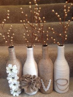 Next Post Previous Post DIY 'Love' wine bottle set. Twine and yarn wrapped wine bottles for a great rustic set. Cute Crafts, Diy And Crafts, Arts And Crafts, Twine Crafts, Decor Crafts, Yarn Crafts, Wine Bottle Art, Wine Bottle Crafts, Diy Bottle