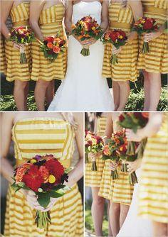 Yellow striped #bridesmaid dresses!