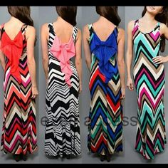 "New Chevron long maxi dress summer sun beach bow Comment on color and size needed ti make sure the availability -New 'Lightweight fabric. -stretchy long maxi dress summer sun beach dress. -sleeveless. -Back Bow 'Chevron print -Fitted ,stretchy ,summer breezy fabric. -KINDLY CHECK MEASUREMENTS Length(side seam)=47"" Size: Small Bust: 30-34"" Waist: 24-28"" Hips: 32-36"" Size: Medium Bust: 32-36""Waist: 26-30"" Hips: 34-38"" Size: Large Bust: 34-38"" Waist: 28-32"" Hips: 36-40"" Boutique Dresses Maxi"