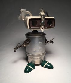 Gizmo the Eclectic Slide Viewer - Assemblage Art Robot Sculpture