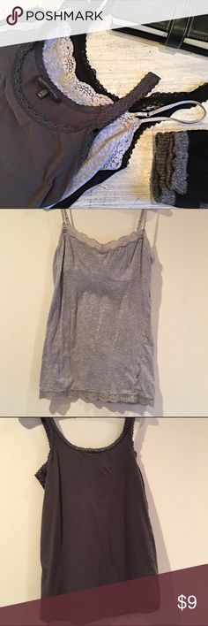 Cami bundle 💫 Light grey lace size M Aeropostale excellent condition with built in shelf bra. Charcoal gray VS size S has several discolorations, probably from bleach(see 3rd pic).  Black VS size S has one small bleach spot under arm ( see last pic). Still great for layering or lounging. As is. Just ask to separate bundles to mix and match. :) Victoria's Secret Tops Camisoles