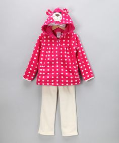 Take a look at this Pink Polka Dot Fleece Zip-Up Hoodie & Pants - Infant & Toddler by Fall Forward: Girls' Apparel on today! I just entered the essentials contest! Have you entered yet? Pink Polka Dots, Stay Warm, Zip Ups, Kids Outfits, Hoodies, Cute, Breeze, Pants, Jackets
